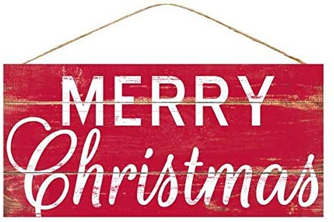 "Red Merry Christmas Wooden Sign - 12.5"" x 6"", Red and White"