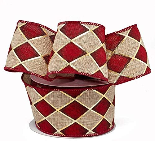 "Christmas Harlequin Diamonds Wired Ribbon - 2 1/2"" x 10 Yards"
