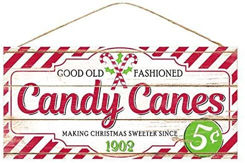 "Vintage Candy Canes Christmas Sign - 12.5"" x 6"""
