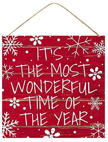 "The Most Wonderful Time Christmas Sign - 10"" x 10"""