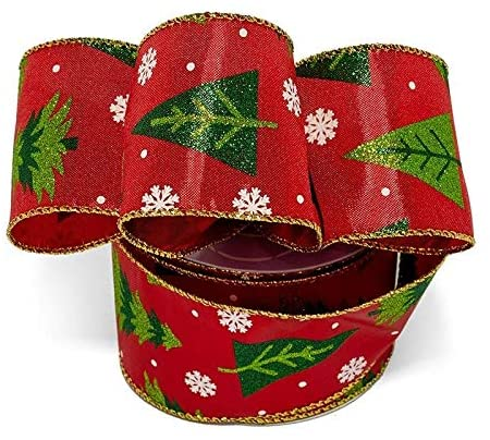 "Bright Red Christmas Trees Ribbon - 2 1/2"" x 10 Yards"