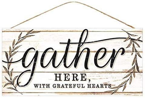 "Gather with Grateful Hearts Sign - 12.5"" x 6"", Wooden Sign Decor"