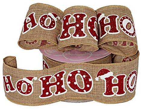 "Sparkly Red Ho-Ho-Ho Christmas Ribbon - 2 1/2"" x 10 Yards"