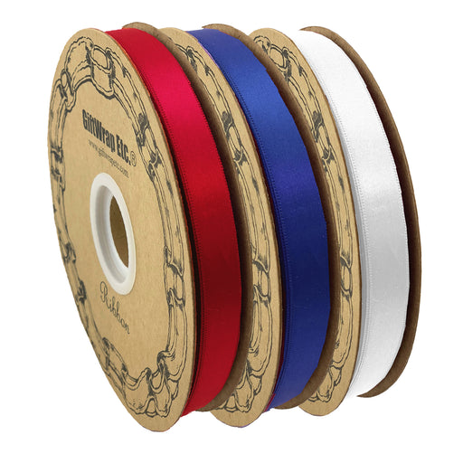 "Satin Fabric Patriotic Decoration Ribbon - Set of 3, 5/8"" x 100 Yards, 300 Yards Total"