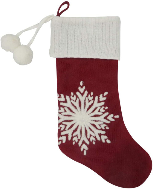 "Red White Snowflake Christmas Stocking - 19"" H, 8"" W"