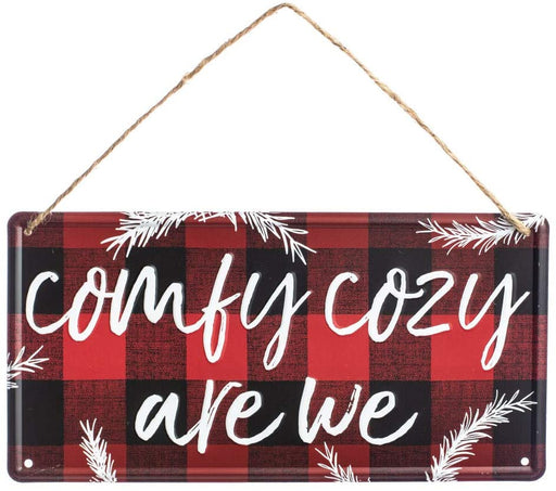 "Buffalo Plaid Tin Welcome Sign - 12"" x 6"", Red & Black Check"