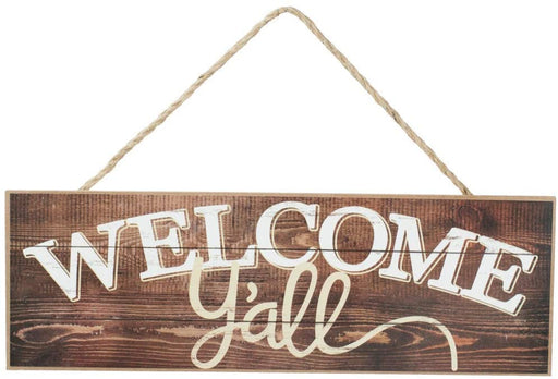 "Rustic Wooden Welcome Y'all Sign - 15"" x 5"""