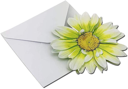 "Lime Green 3-D Flower Pop Up Cards - 4"" Wide, Set of 6"