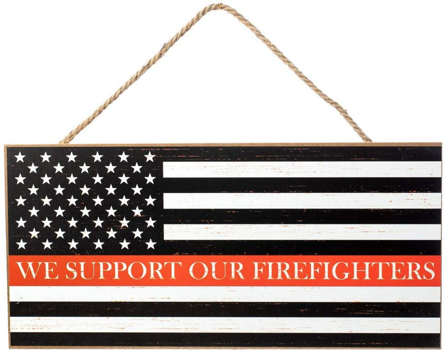 "Support Firefighters Flag Wooden Sign - 12"" x 6"""