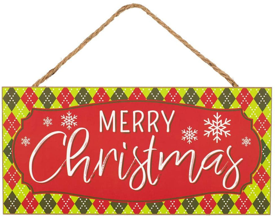 "Red Lime Green Merry Christmas Sign - 12.5"" x 6"""