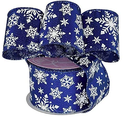 "Royal Blue Snowflakes Wired Ribbon - 2 1/2"" x 10 Yards"