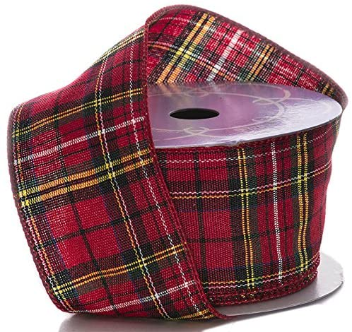 "Red Plaid Christmas Wired Ribbon - 2 1/2"" x 10 Yards"