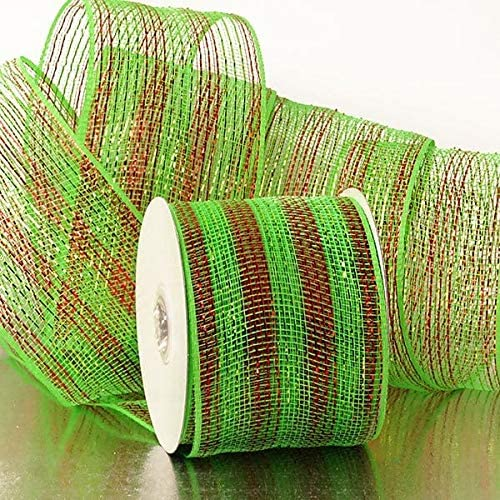 "Christmas Wreath Maker Deco Mesh - 4"" X 20 Yards, Red Green"