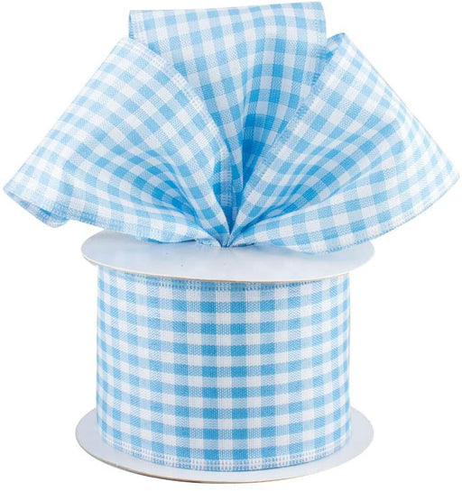 Baby Blue Gingham Wired Ribbon - 2 1/2 Inch x 10 Yards