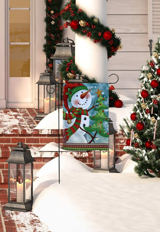 "Snowman Christmas Tree Garden Flag - 12"" x 18"""
