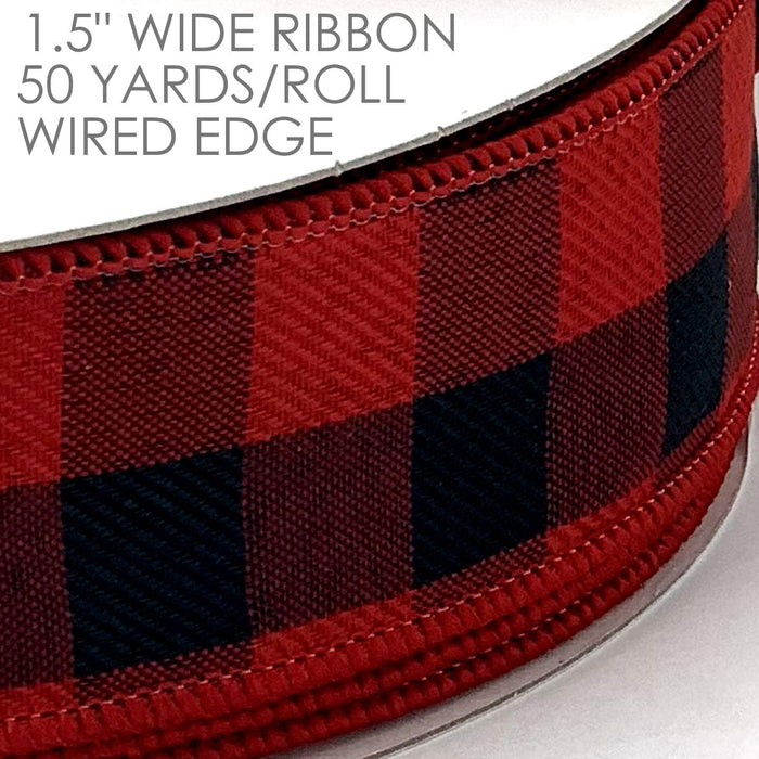 "Buffalo Check Wired Christmas Ribbon - 1 1/2"" x 50 Yards"