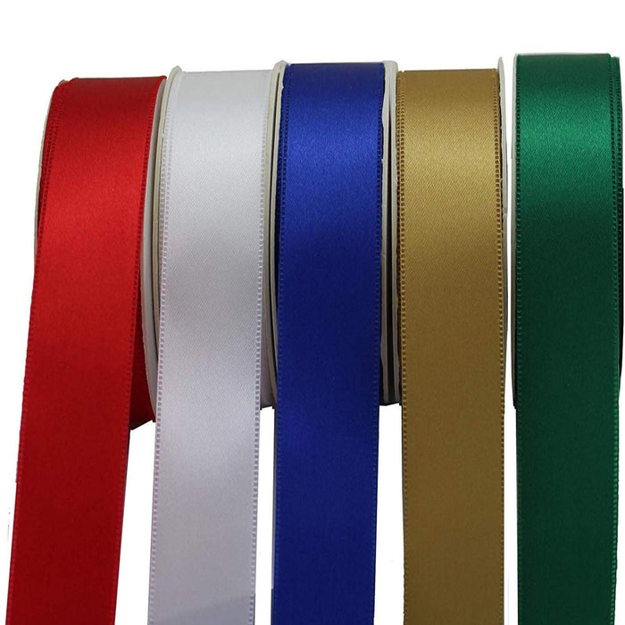 "Satin Fabric Christmas Decoration Ribbon - Set of 5, 1"" x 10 Yards, 50 Yards Total"