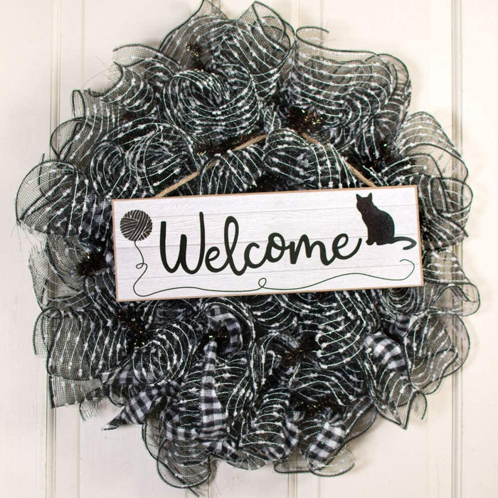 "Black Cat Wooden Welcome Sign - 15"" x 5"""