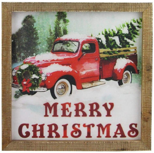 "Rustic Merry Christmas Wood Sign - 13"" x 13"""