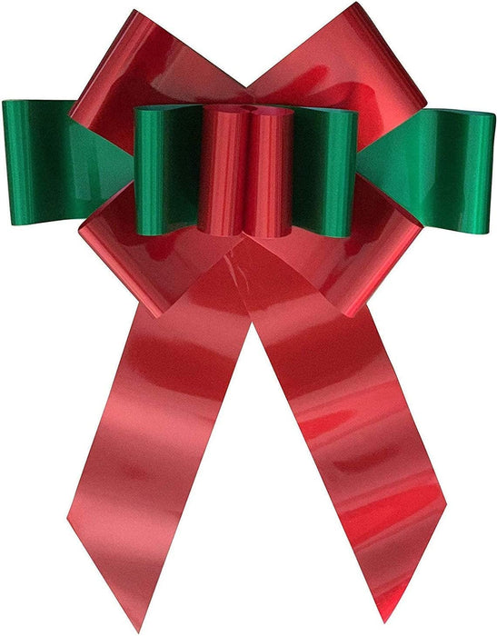 "Big Red Green Car Bow  - 25"" Wide"