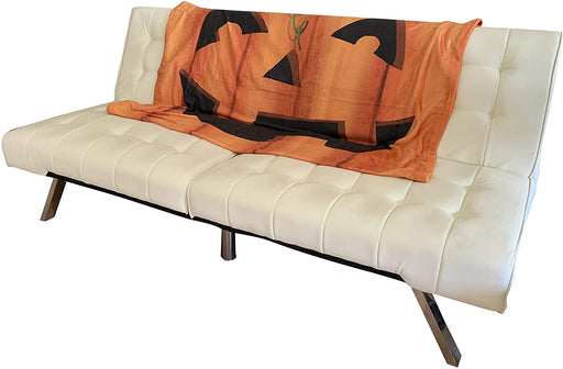 "Smiling Jack-O-Lantern Face Halloween Blanket - 50"" x 60"", Orange Pumpkin"
