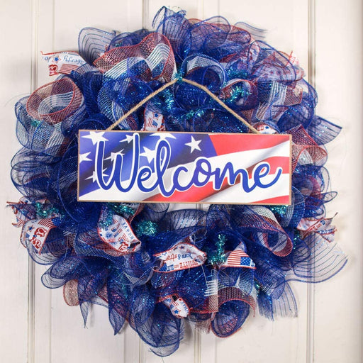 "Veteran's Day Patriotic Welcome Sign - 15"" x 5"""