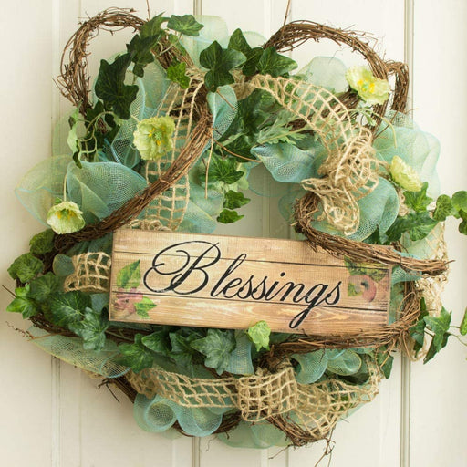 "Blessings Sign Fall Wreath Decor - 15"" x 5"""