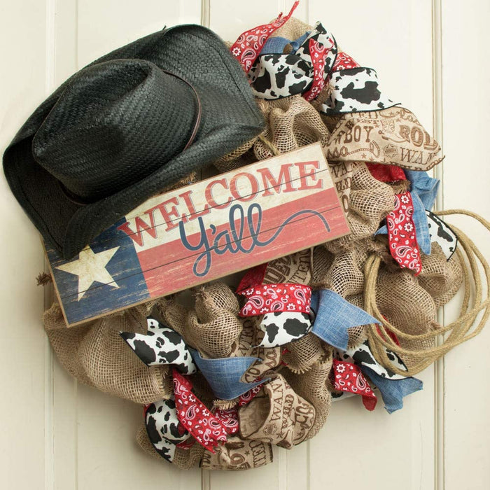 "Texas Flag Patriotic Welcome Y'all Sign - 15"" x 5"""
