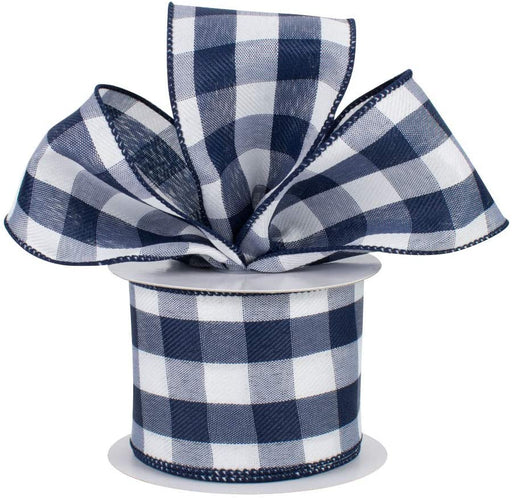 "Navy Blue White Gingham Ribbon - 2 1/2"" x 10 Yards"