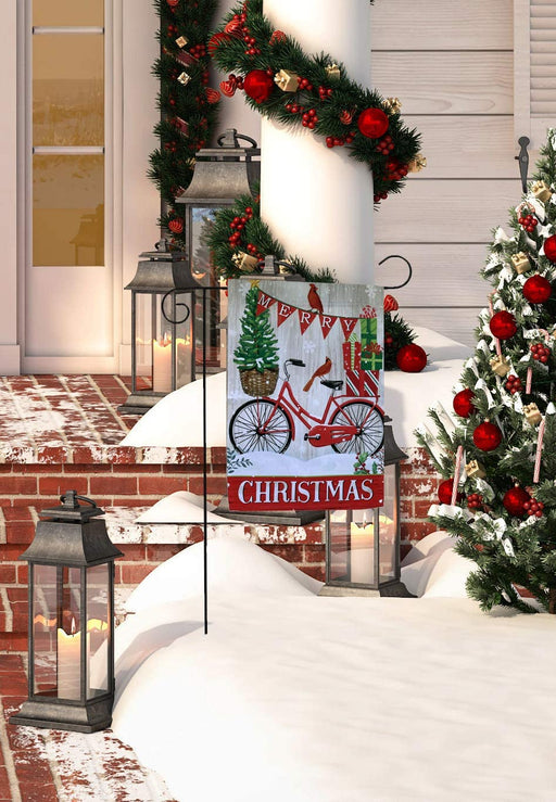 "Merry Christmas Bike Garden Flag 12"" x 18"""