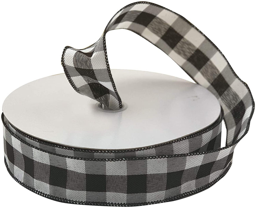 "Buffalo Check Black White Ribbon - 1 1/2"" x 50 Yards"