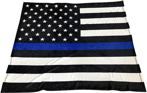 "Thin Blue Line Throw Blanket - 50"" x 60"", Black, White, Blue, Police Support"