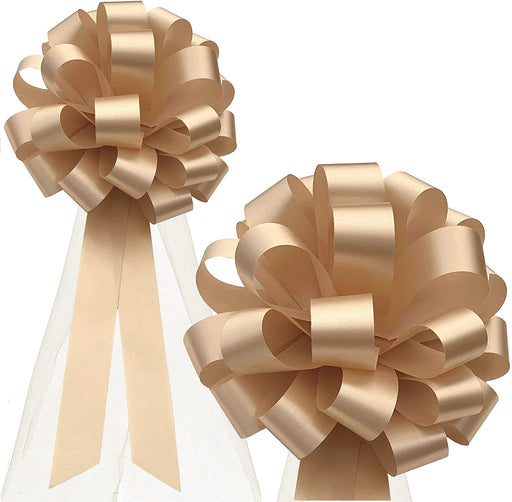 "Beige Pull Bows with Tulle Wedding Decorations - 8"" Wide, Set of 6"