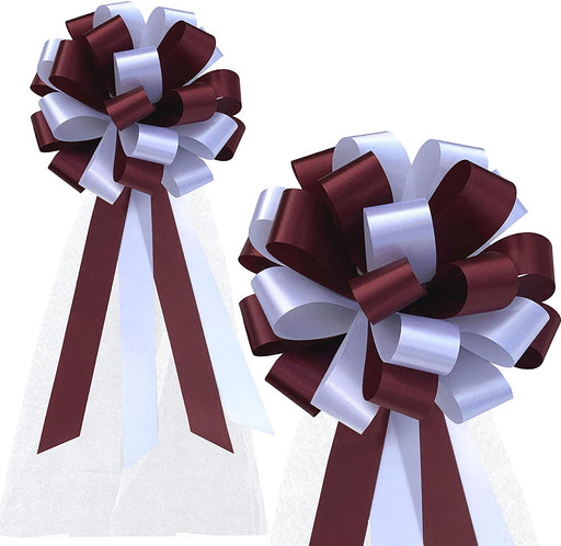 Burgundy White Bows with Tulle Tails