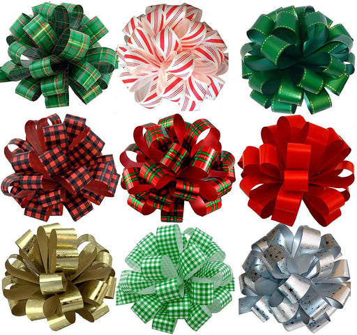 "Large Assorted Christmas Pull Bows Holiday Prints - 8"" Wide, Set of 9"