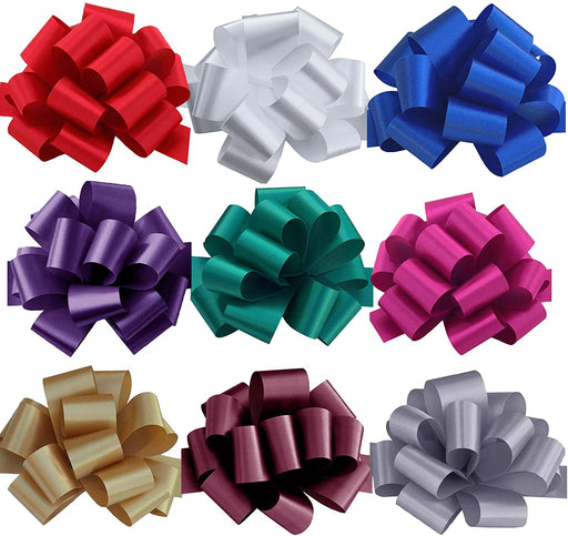 "Christmas Gift Wrap Pull Bows - 5"" Wide, Set of 9, Red"