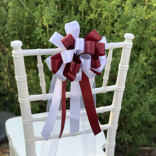 Burgundy/White Wedding Bows with Tulle