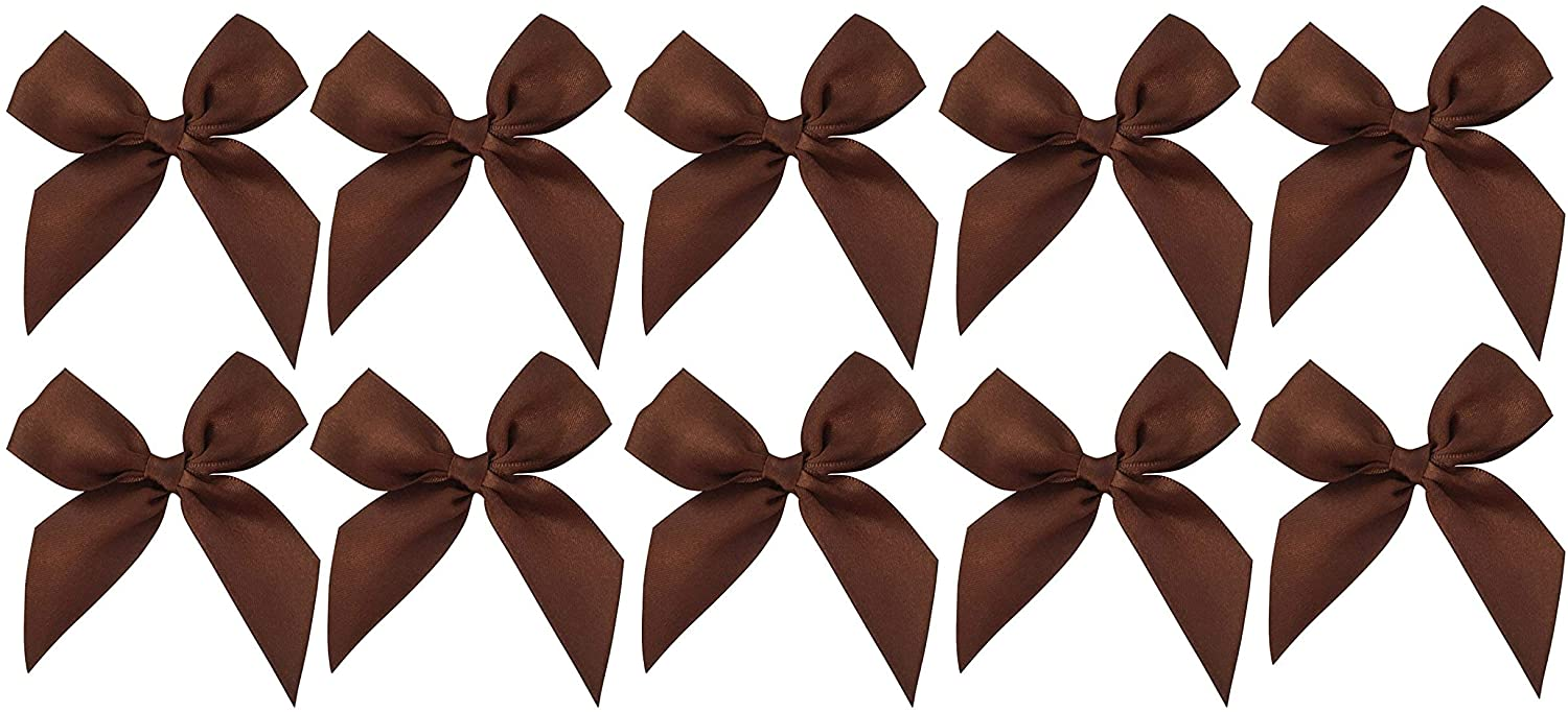 "Brown Satin Pre-Tied Bows - 3"" Wide, Set of 10"