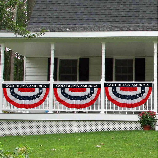 Patriotic Pleated Fan Flag Bunting Banner - 3' x 6', God Bless America