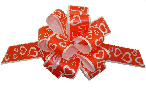 "Valentine's Day Heart Pull Bows - 5"" Wide, Set of 6"