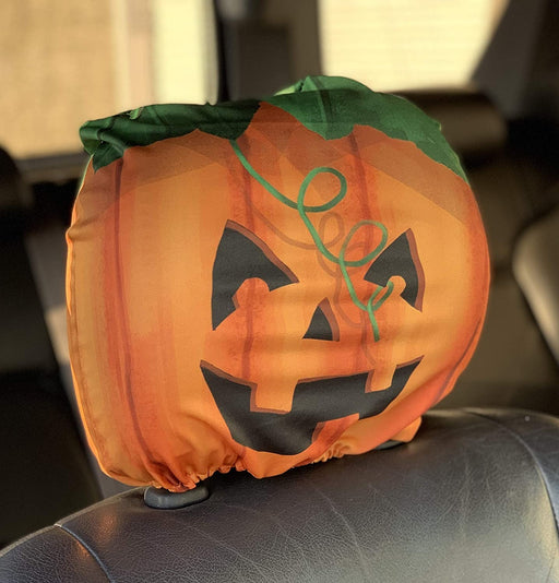 Halloween Headrest Covers for Cars - Set of 2, Smiling Jack-O-Lantern Face