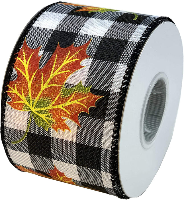 "Fall Leaves Buffalo Plaid Ribbon - 2 1/2"" x 10 Yards"