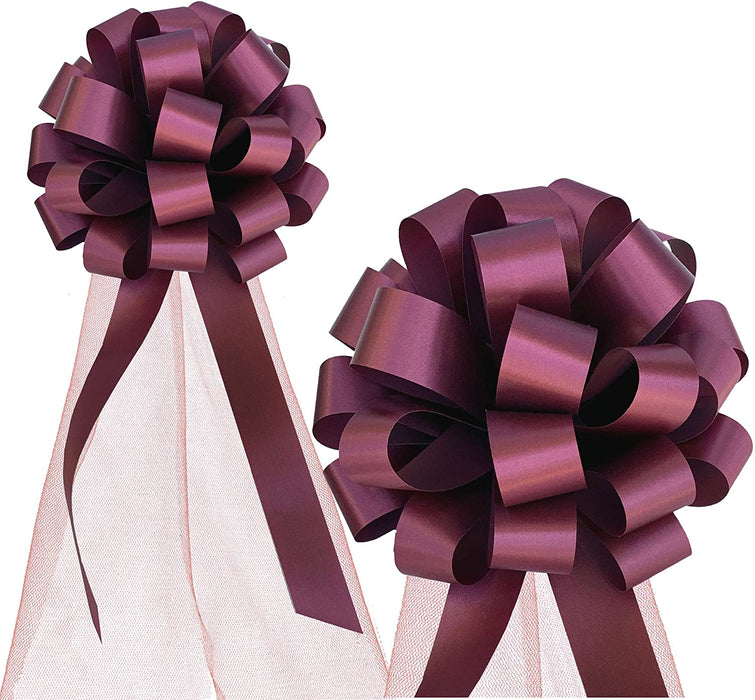 "Wedding Pull Bows with Tulle Tails - 8"" Wide, Set of 6"