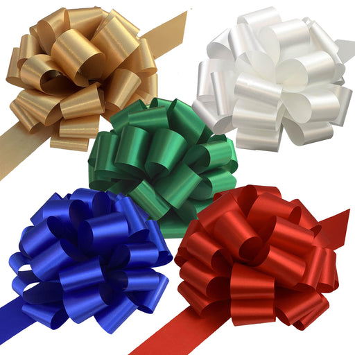 "Gold, White, Green, Blue, Red Pull Bows for Large Christmas Gifts - 9"" Wide, Set of 5"
