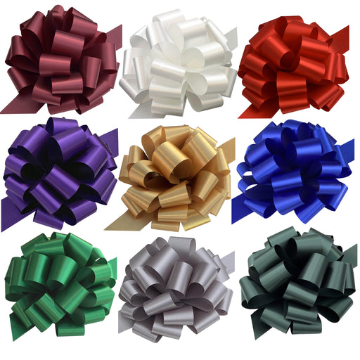 "Large Assorted Christmas Pull Bows Solid Colors - 9"" Wide, Set of 9"