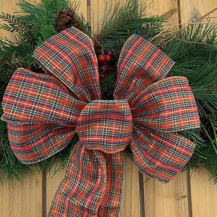 "Christmas Tartan Wired Edge Ribbon - 2 1/2"" x 10 Yards"