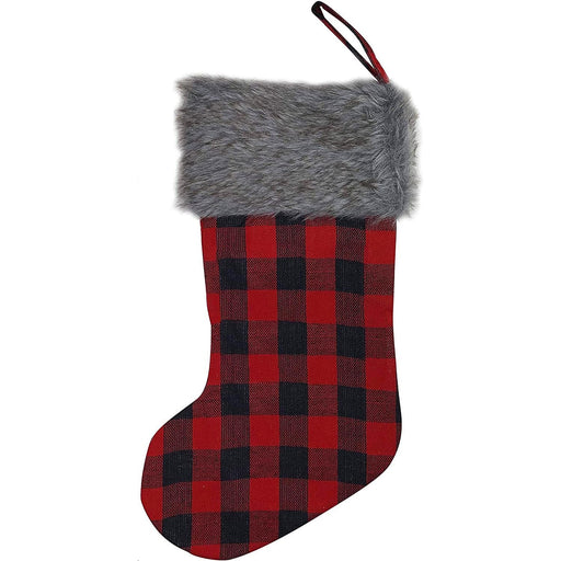 "Large Buffalo Plaid Christmas Stocking - 20"" H, 8"" W, Grey Faux Fur Cuff"