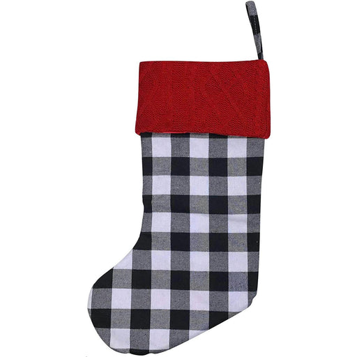 "Large Black and White Buffalo Plaid Christmas Stocking - 20"" H, 8"" W"