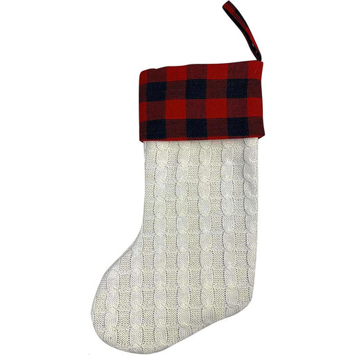 "Large Ivory Knit Christmas Stocking - 20"" H, 8"" W, Red & Black Buffalo Plaid Cuff"