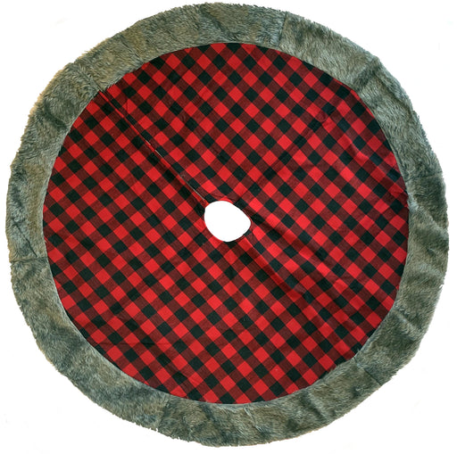 "Buffalo Plaid Christmas Tree Skirt - Large 48"" Diameter, Red and Black Checks"